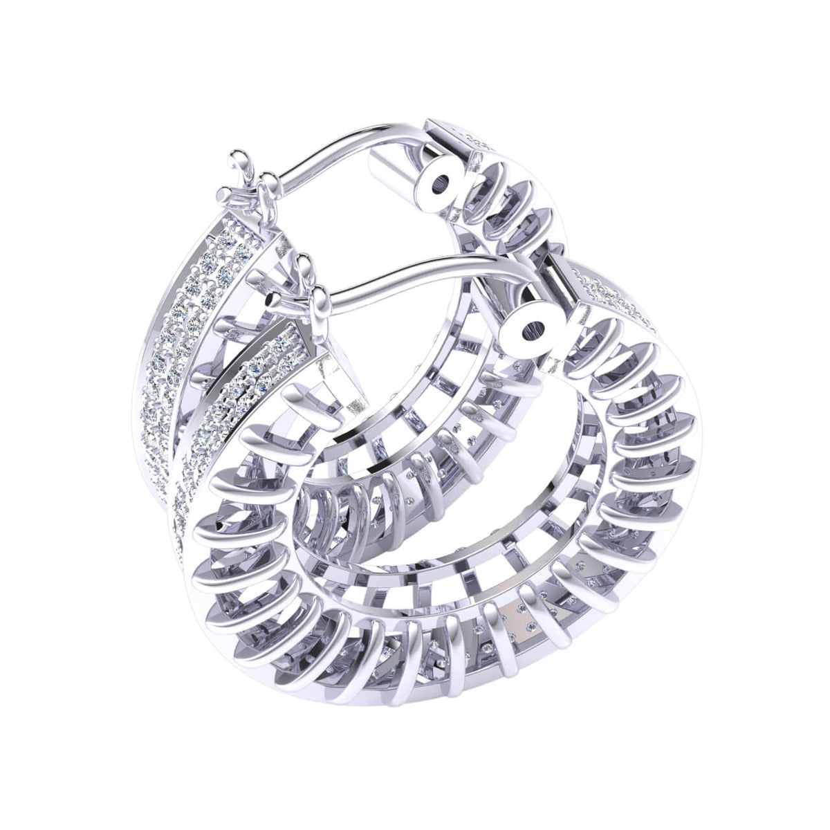 0.95 Ct Hinged Designer Round GH I1-I2 Diamond Hoop Earrings 925 Sterling Silver