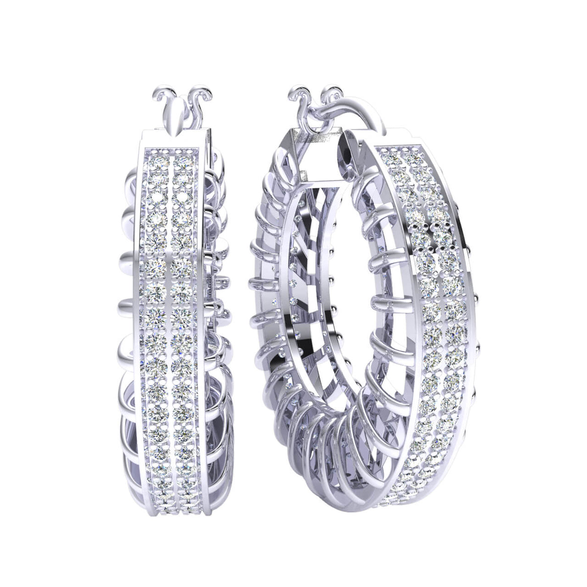 0.95 Ct Hinged Designer Round H SI2 Diamond Hoop Earrings 10k Gold