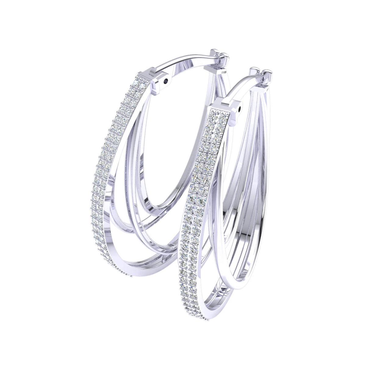 0.55 Ct Round GH I1-I2 Diamond Hoops Womens Fancy Earrings 925 Sterling Silver