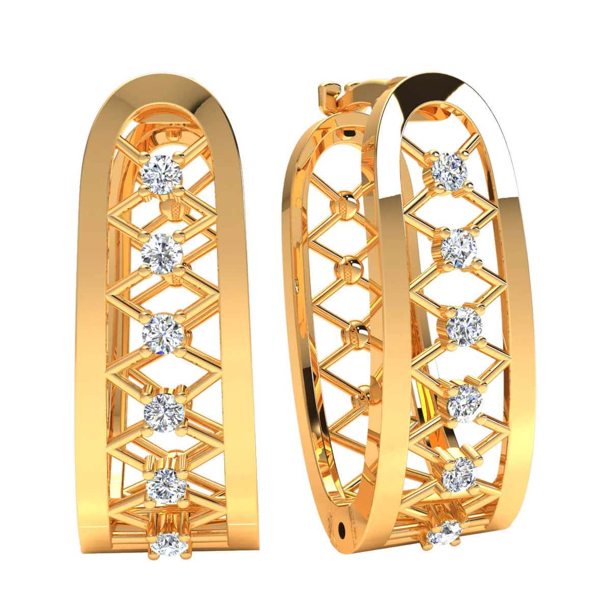 0.20 Ct Huggies Round H SI2 Diamond Fancy Earrings For Womens 10k Gold