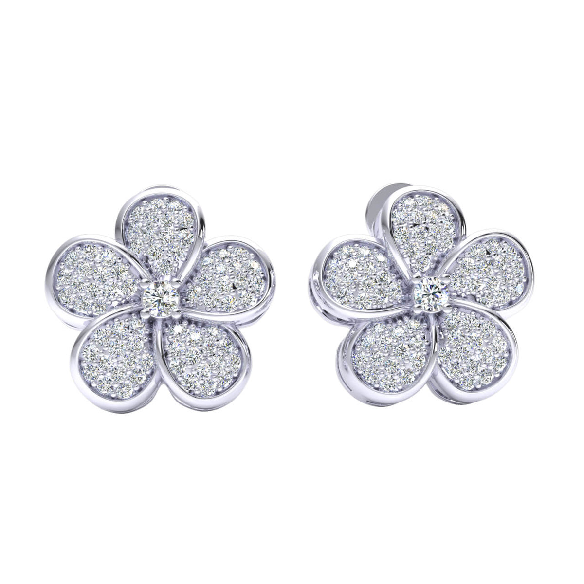 0.75 Ct Stud Cluster Round GH I1-I2 Diamond Fancy Earrings 925 Sterling Silver