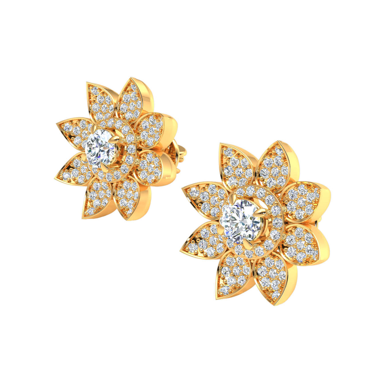 0.90 Ct Round GH I1-I2 Diamond Halo Flowers Womens Fancy Earrings 925 Sterling Silver