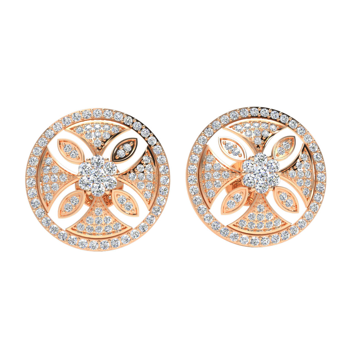 1.50 Ct Circle Round GH SI1 Diamond Fancy Earrings For Womens 14k Gold