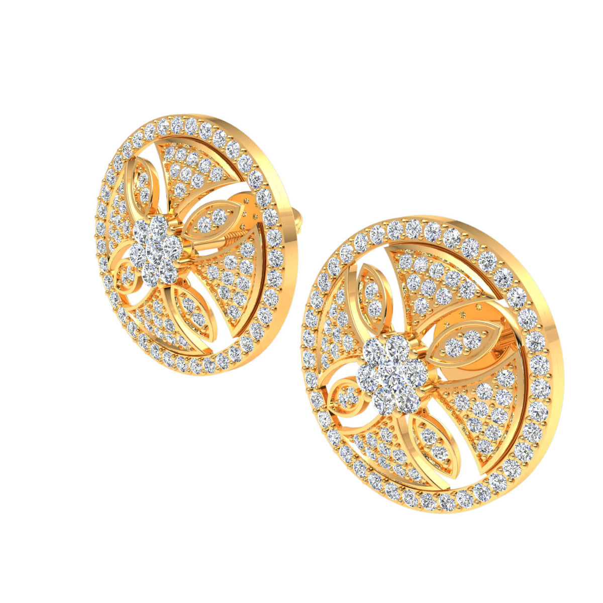 1.50 Ct Circle Round H SI2 Diamond Fancy Earrings For Womens 10k Gold