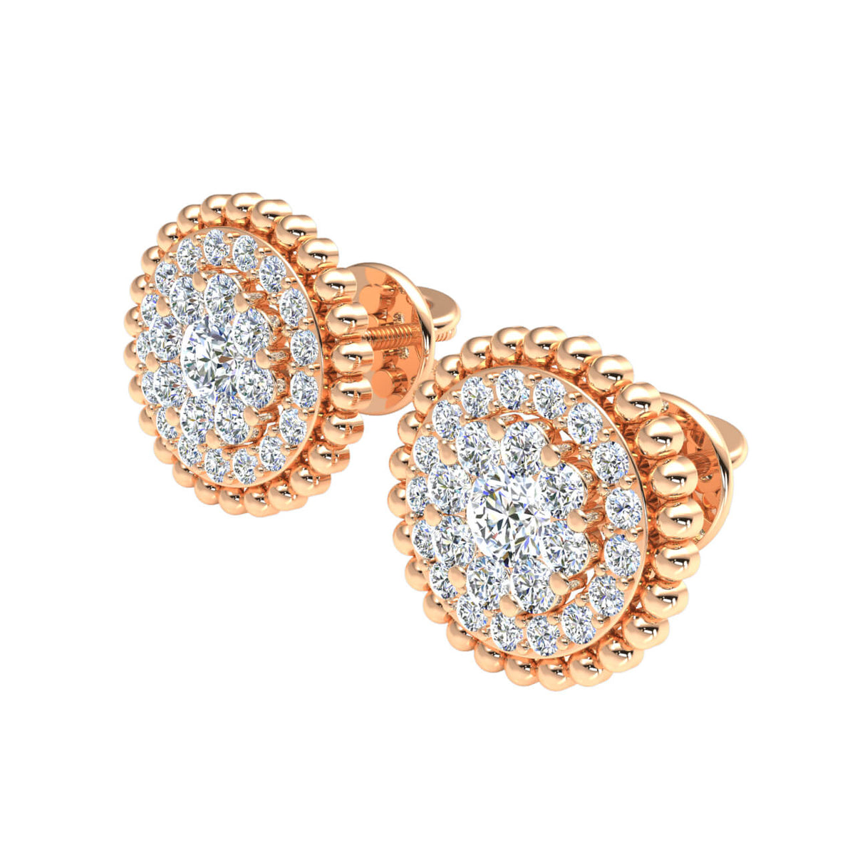 0.80 Ct Round GH SI1 Diamond Cluster Circle Womens Stud Earrings 14k Gold