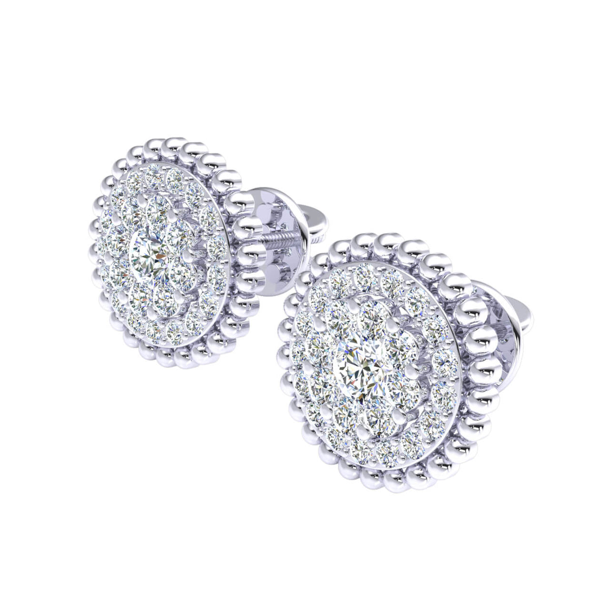 0.80 Ct Round GH I1-I2 Diamond Cluster Circle Womens Stud Earrings 925 Sterling Silver