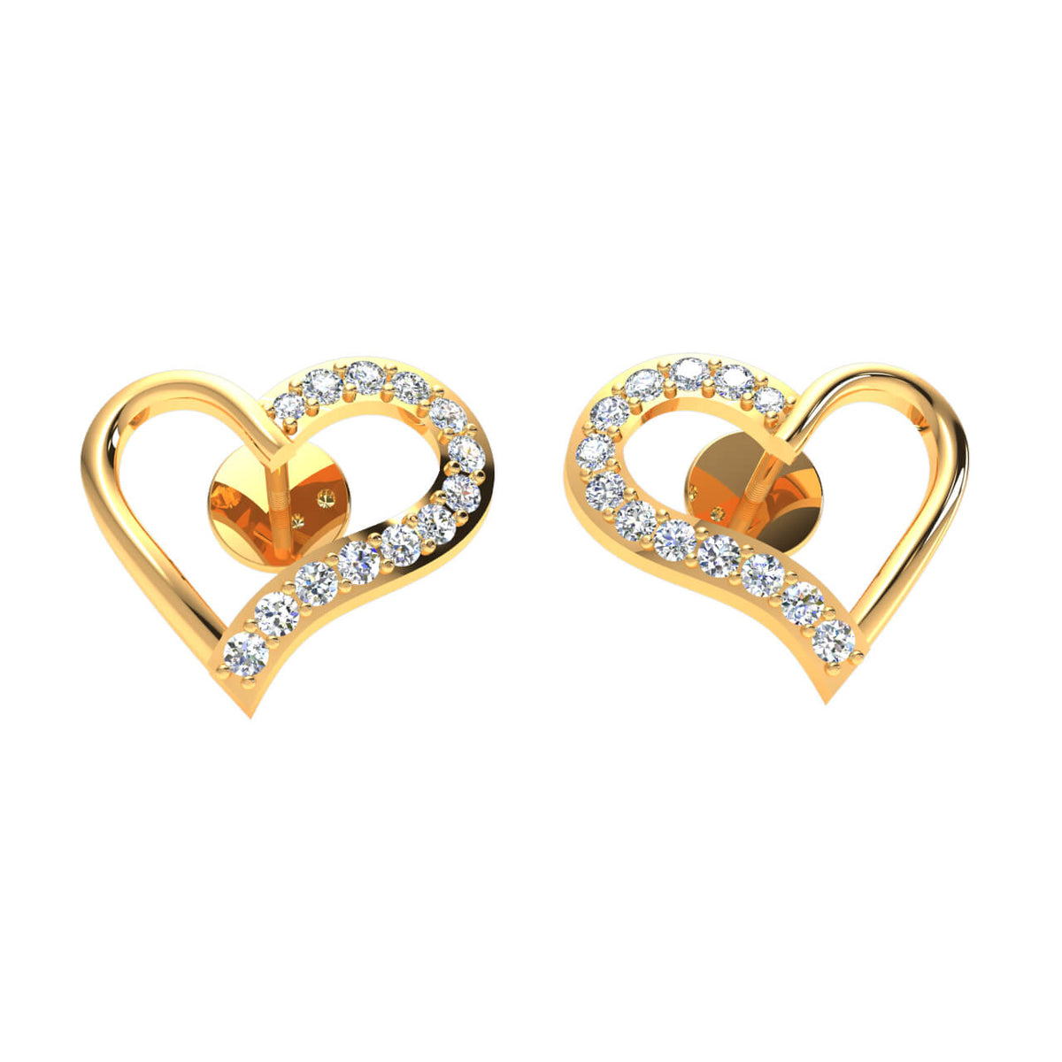 0.25 Ct Stud Pave Round GH SI1 Diamond Heart Earrings 14k Gold