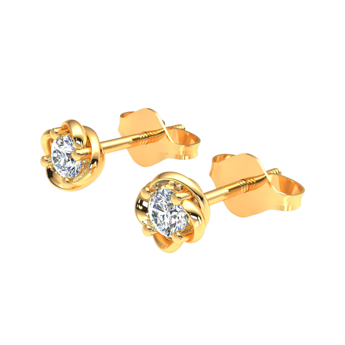 0.25 Ct Round H SI2 Diamond Solitaire Womens Stud Earrings 10k Gold