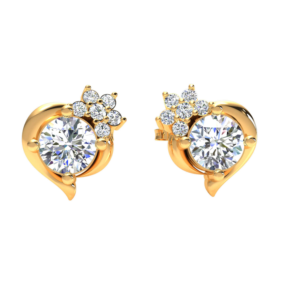 0.45 Ct Solitaire Round GH SI1 Diamond Stud Earrings For Womens 14k Gold