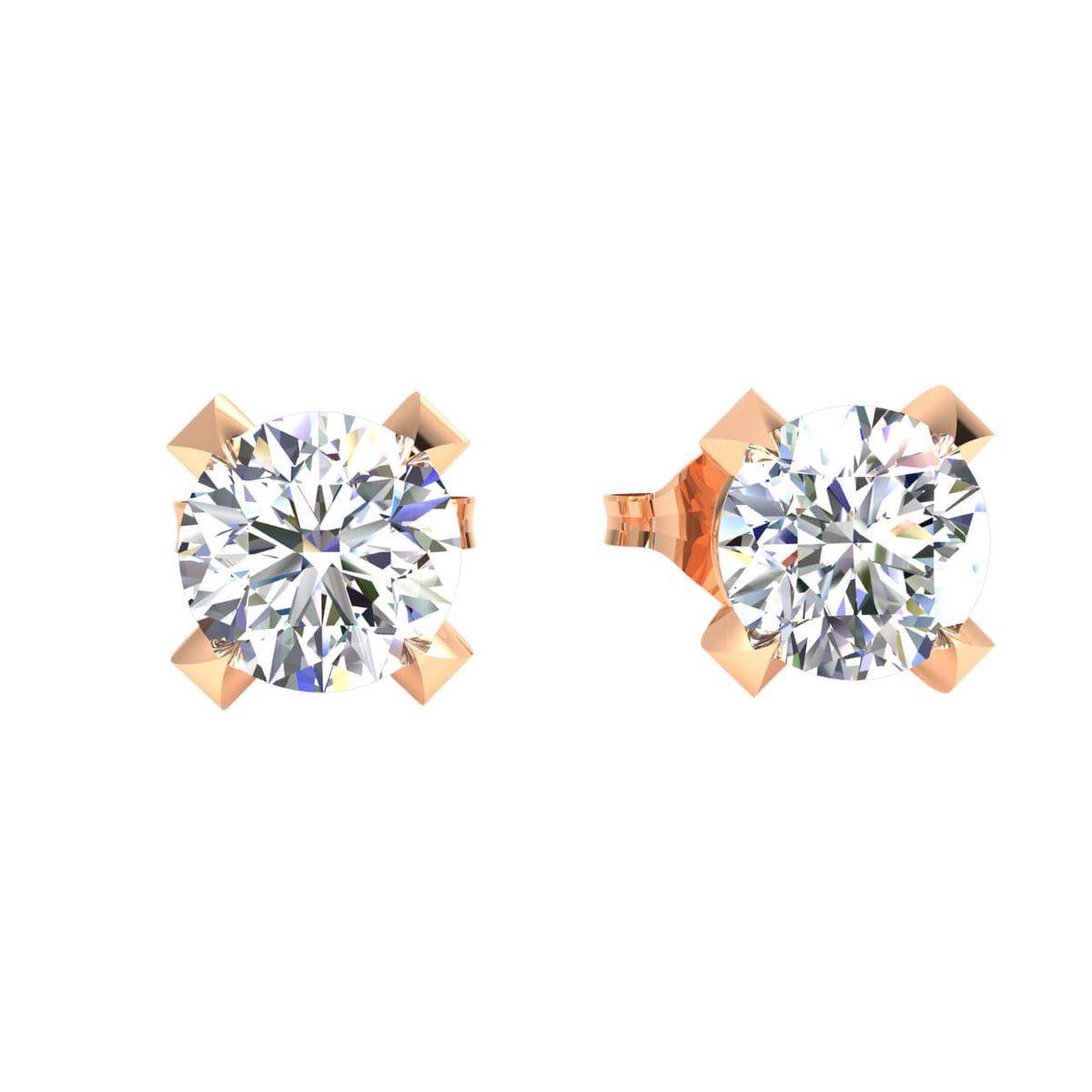 0.40 Ct Solitaire Round GH I1-I2 Diamond Stud Earrings 925 Sterling Silver