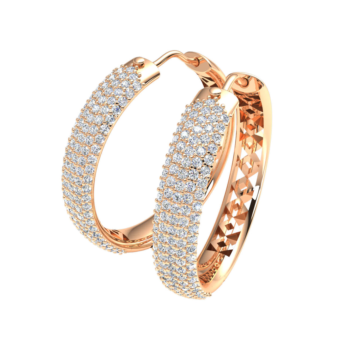 1.20 Ct Round GH SI1 Diamond 5-Row Hinged Unisex Hoop Earrings 14k Gold
