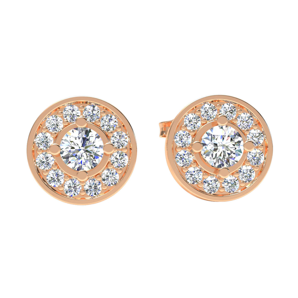 0.45 Ct Round GH I1-I2 Diamond Stud Unisex Fancy Earrings 925 Sterling Silver