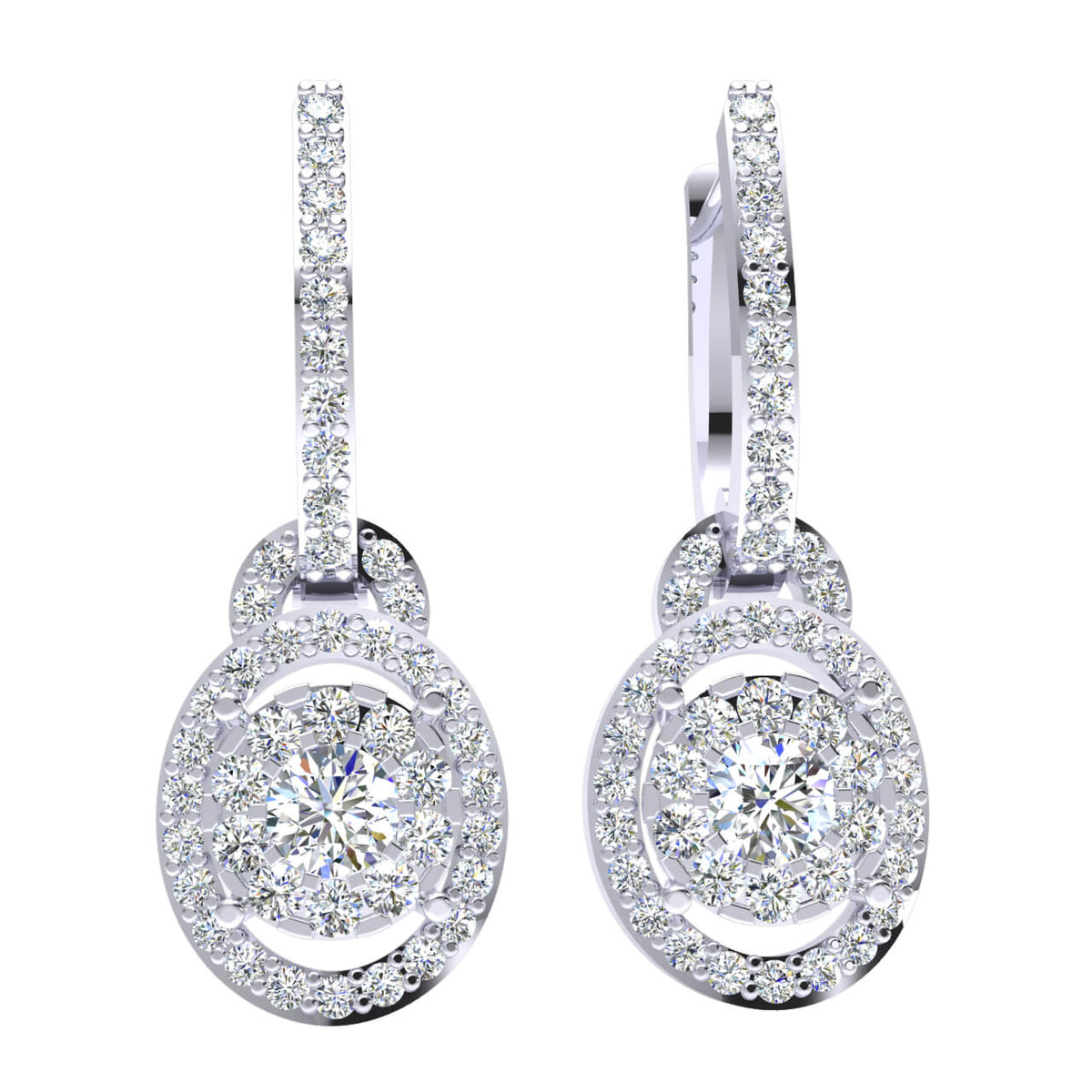 1.25 Ct Huggies Round H SI2 Diamond Fancy Earrings For Womens 10k Gold