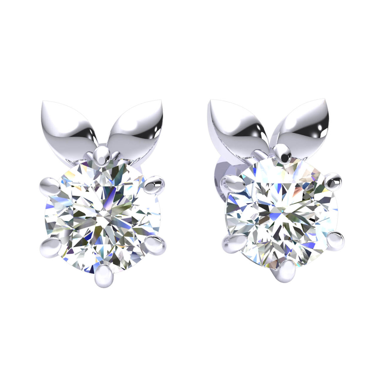 1.00 Ct Solitaire Round H SI2 Diamond Stud Earrings 10k Gold