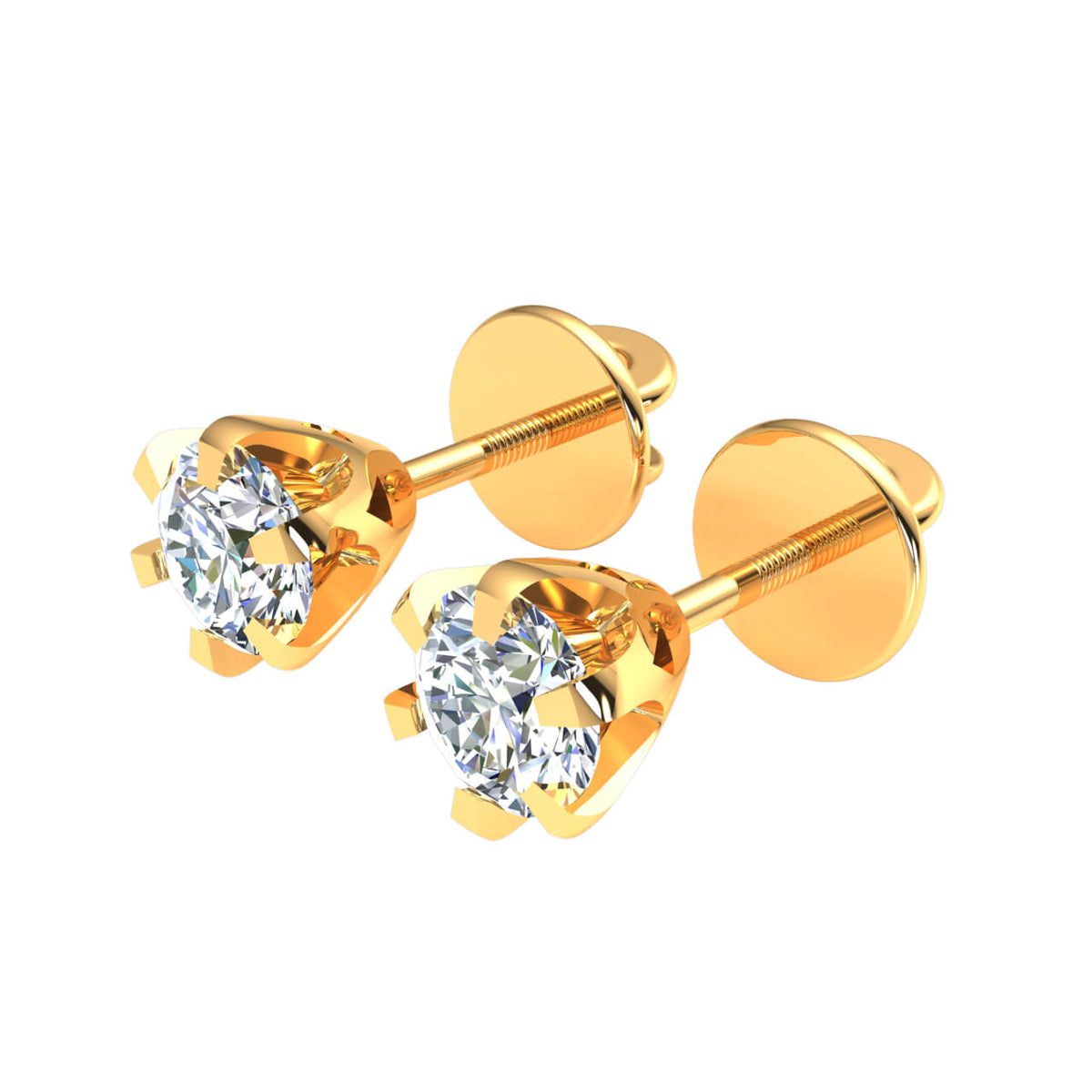 1.00 Ct Round GH SI1 Diamond 6-Prong Solitaire Unisex Stud Earrings 14k Gold