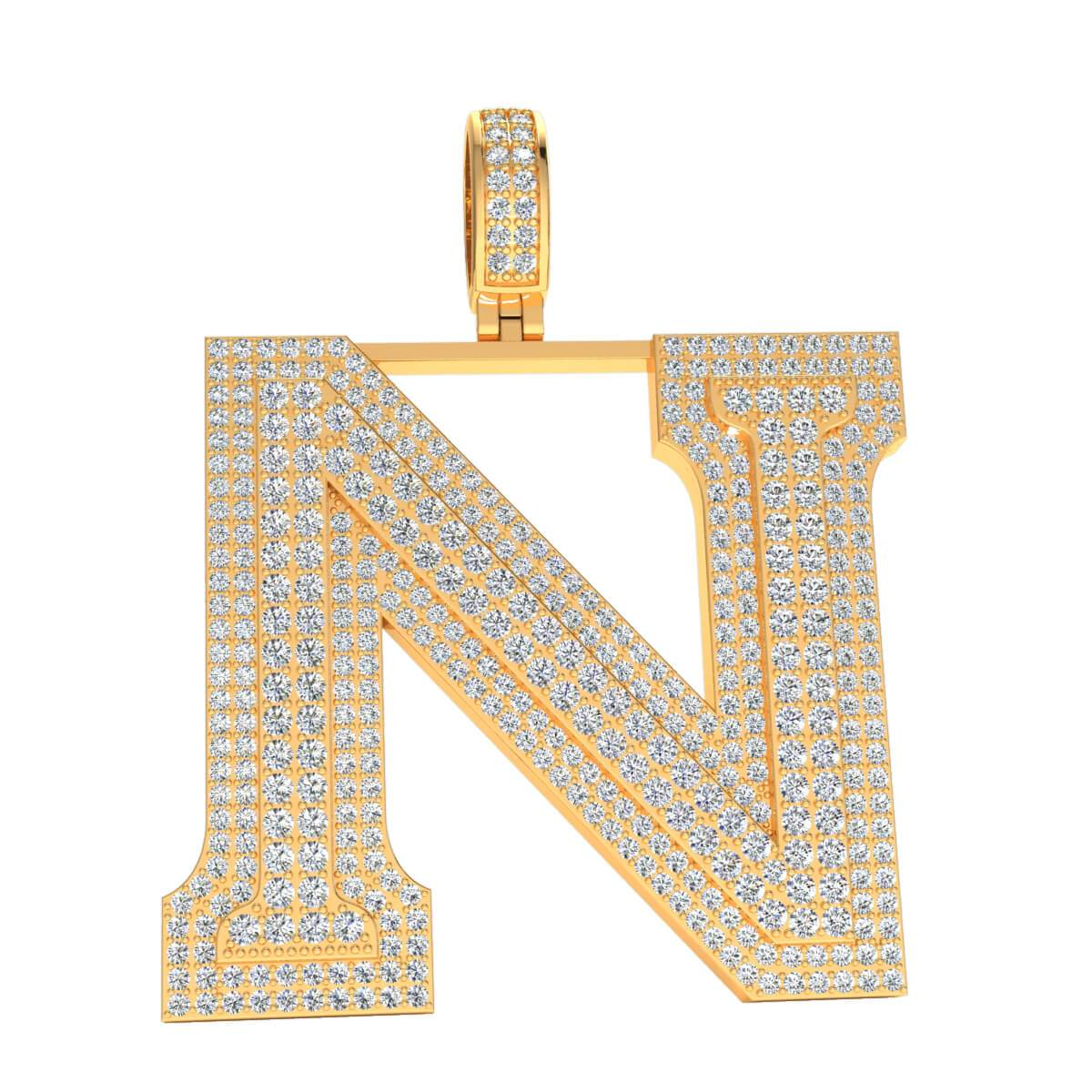 2 Row Natural Diamond JK I1 2 inch Initial Block Pendants in 10k Gold