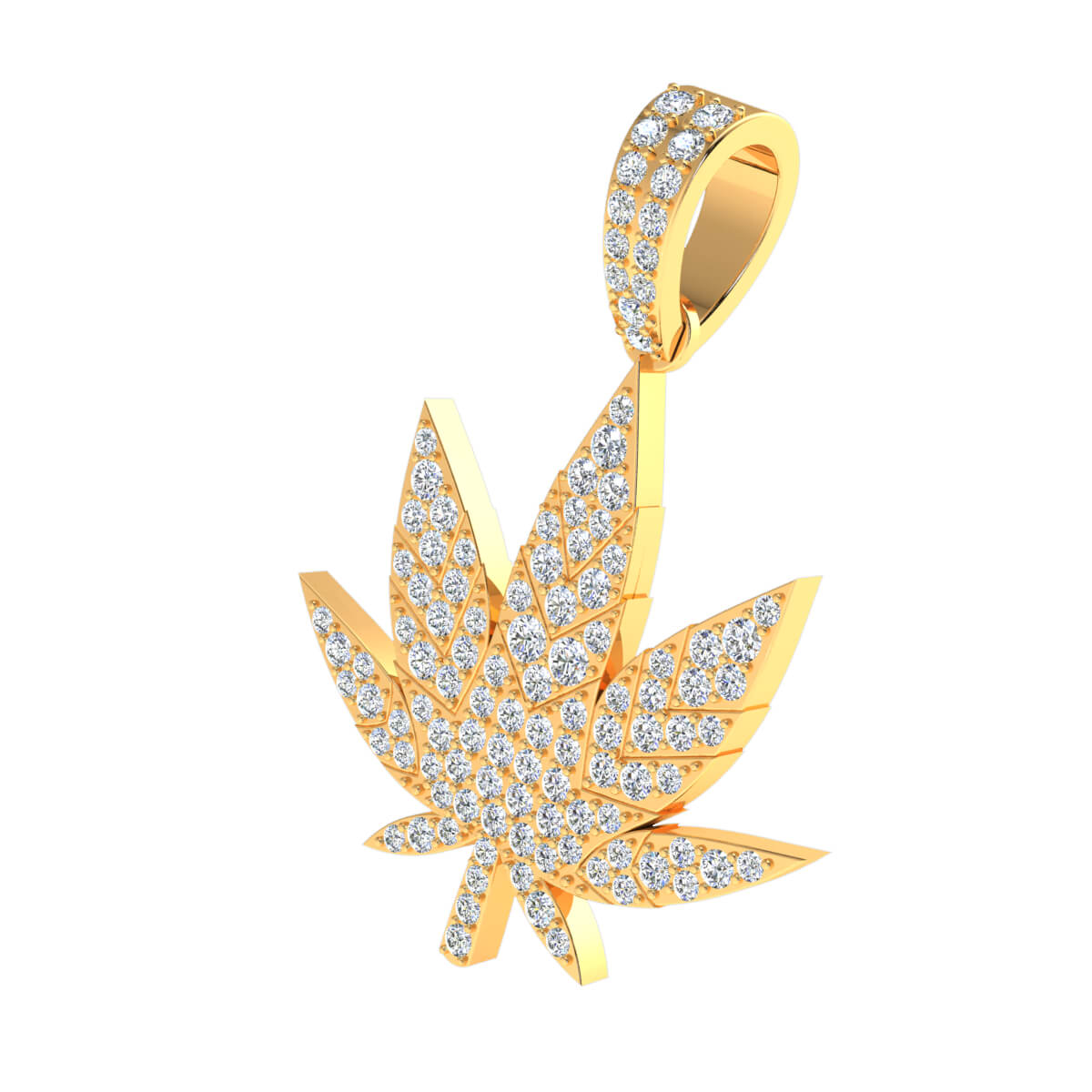 1.25 Ct Natural GH SI1 Flower Drop Pendant 14k Gold