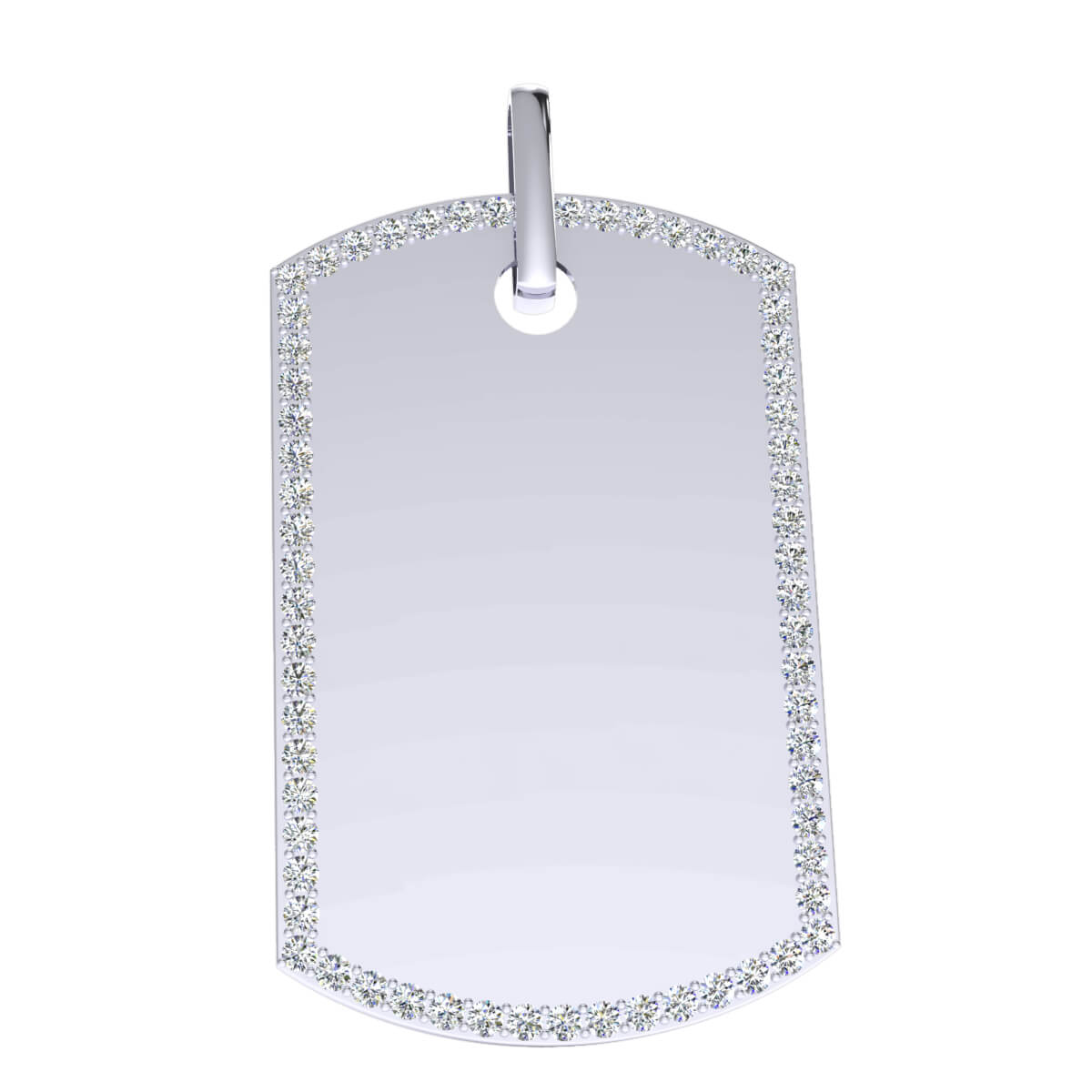 2.35 Ct Natural IJ SI2 Dog Tag Pendant 10k Gold