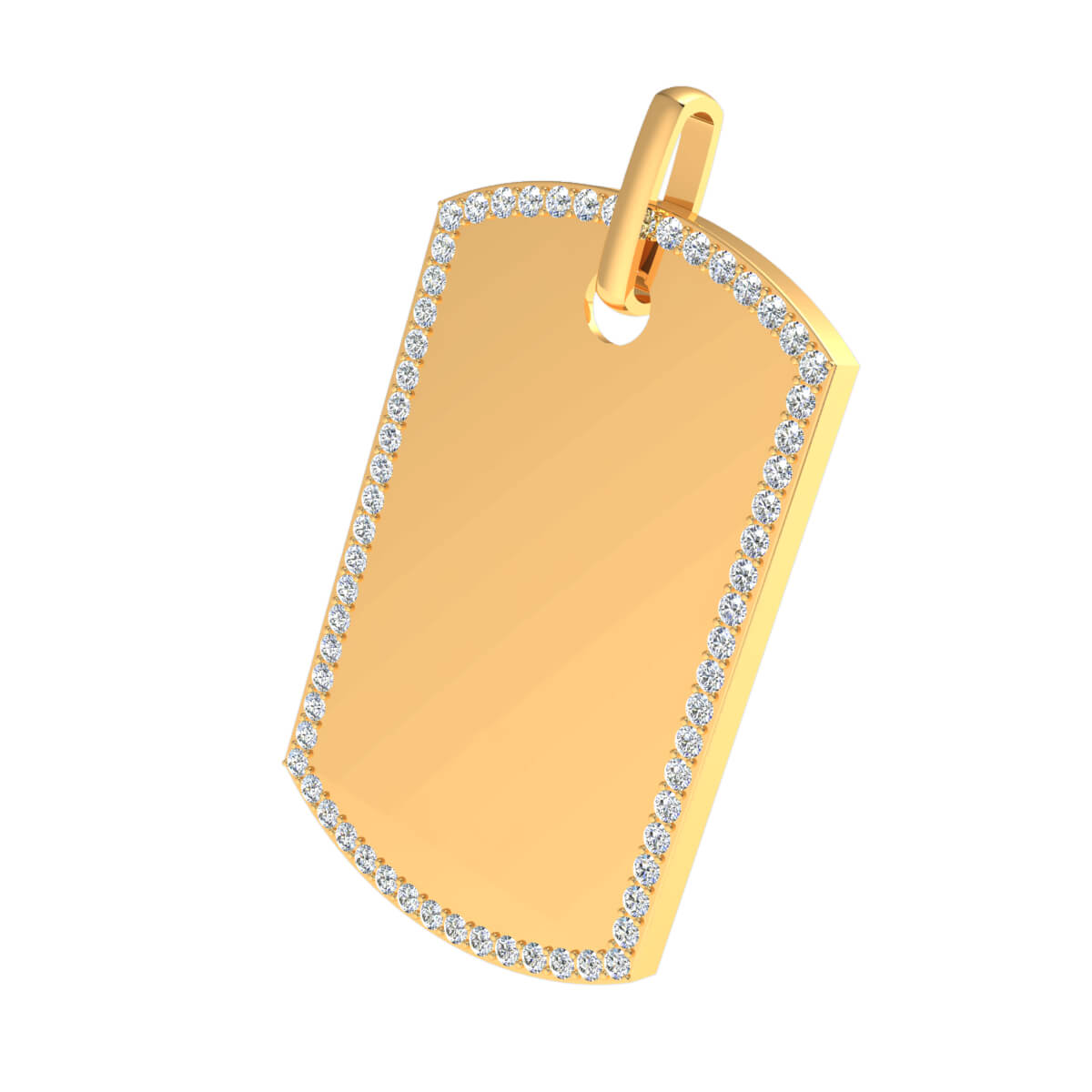 2.35 Ct Natural GH SI2 Dog Tag Pendant 14k Gold