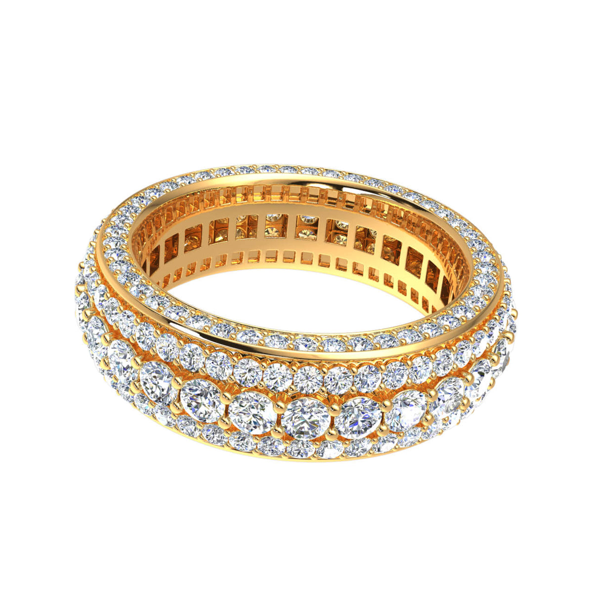 5.25 Ct Natural GH Si2 Diamond 5 Row Men's Eternity Wedding Band in 14k Gold