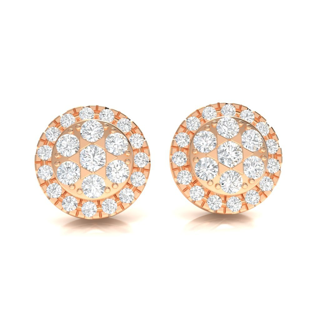 2.93CT Halo Cluster Earrings in 10k Gold GH I1
