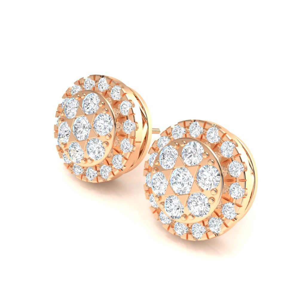 2.45CT Halo Cluster Earrings in 14k Gold GH SI2