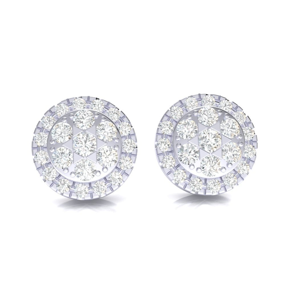 2.93CT Halo Cluster Earrings in 14k Gold GH SI2