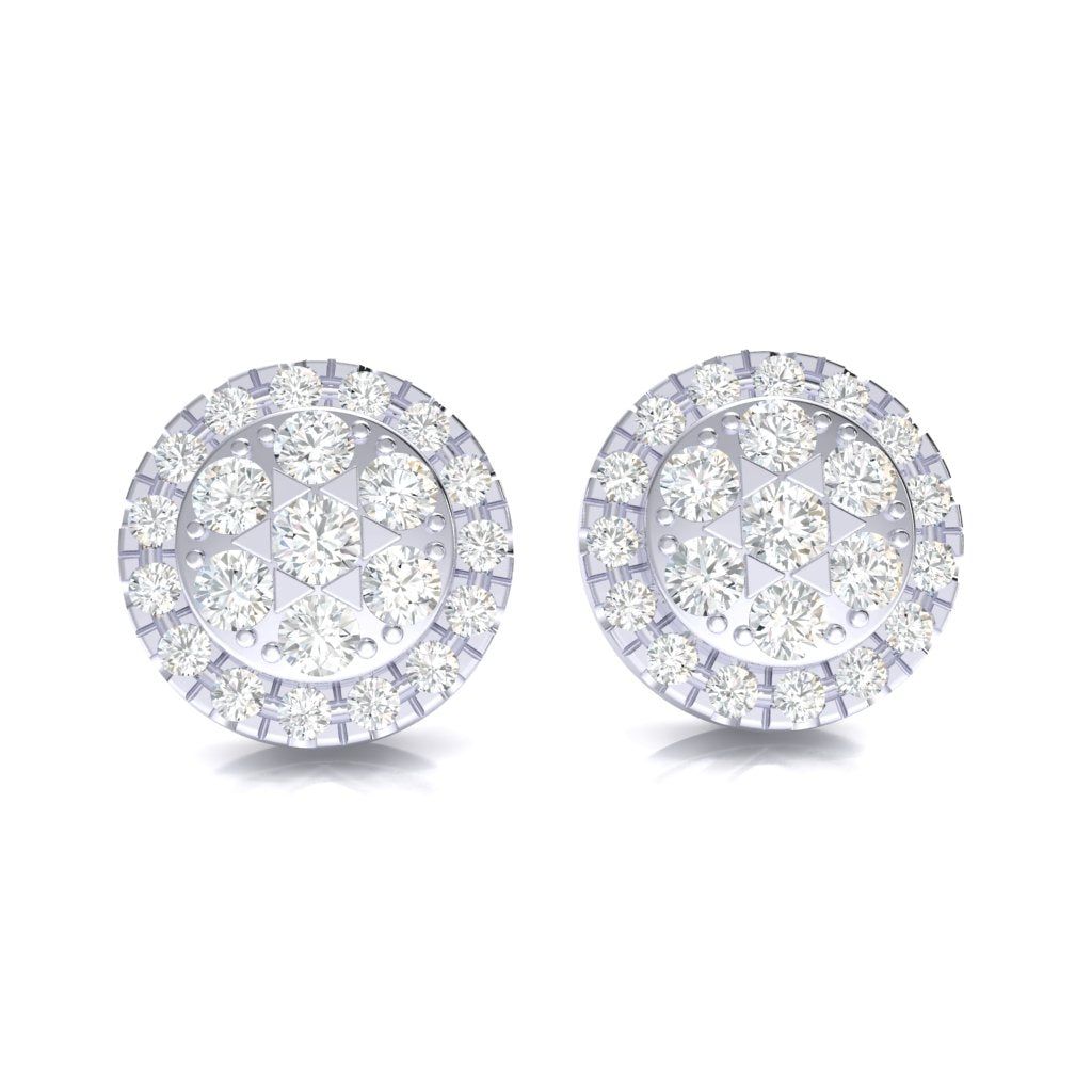 3.45CT Halo Cluster Earrings in 14k Gold GH SI2
