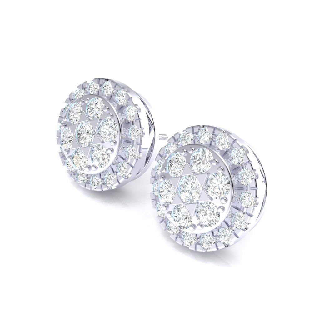 4.48CT Halo Cluster Earrings in 14k Gold GH SI2