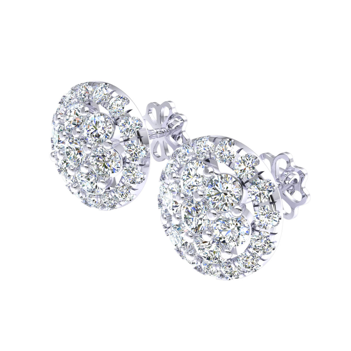 0.95 Ct Round GH SI1 Diamond Cluster Fancy Unisex Stud Earrings 14k Gold