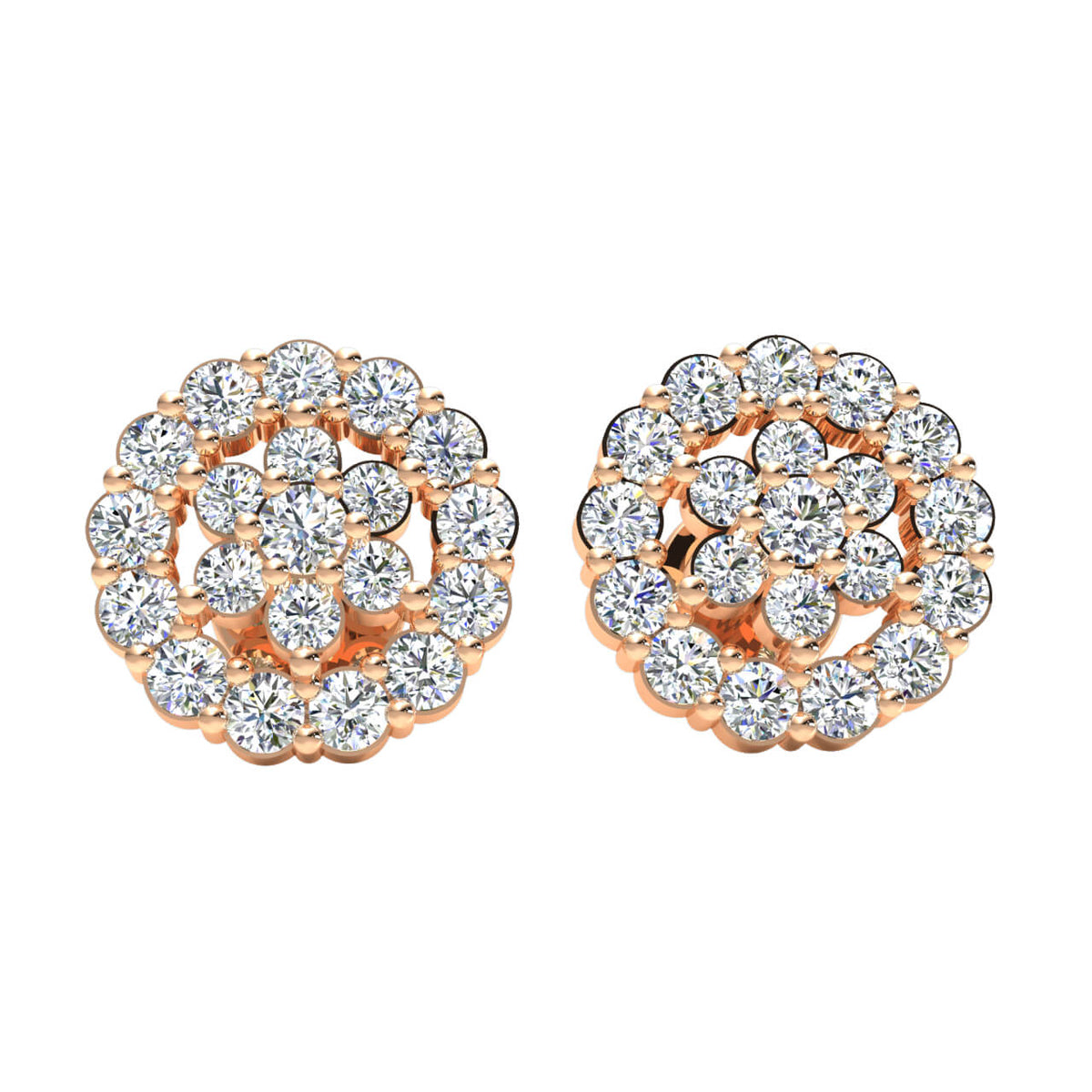 0.80 Ct Round GH I1-I2 Diamond Fancy Unisex Stud Earrings 925 Sterling Silver