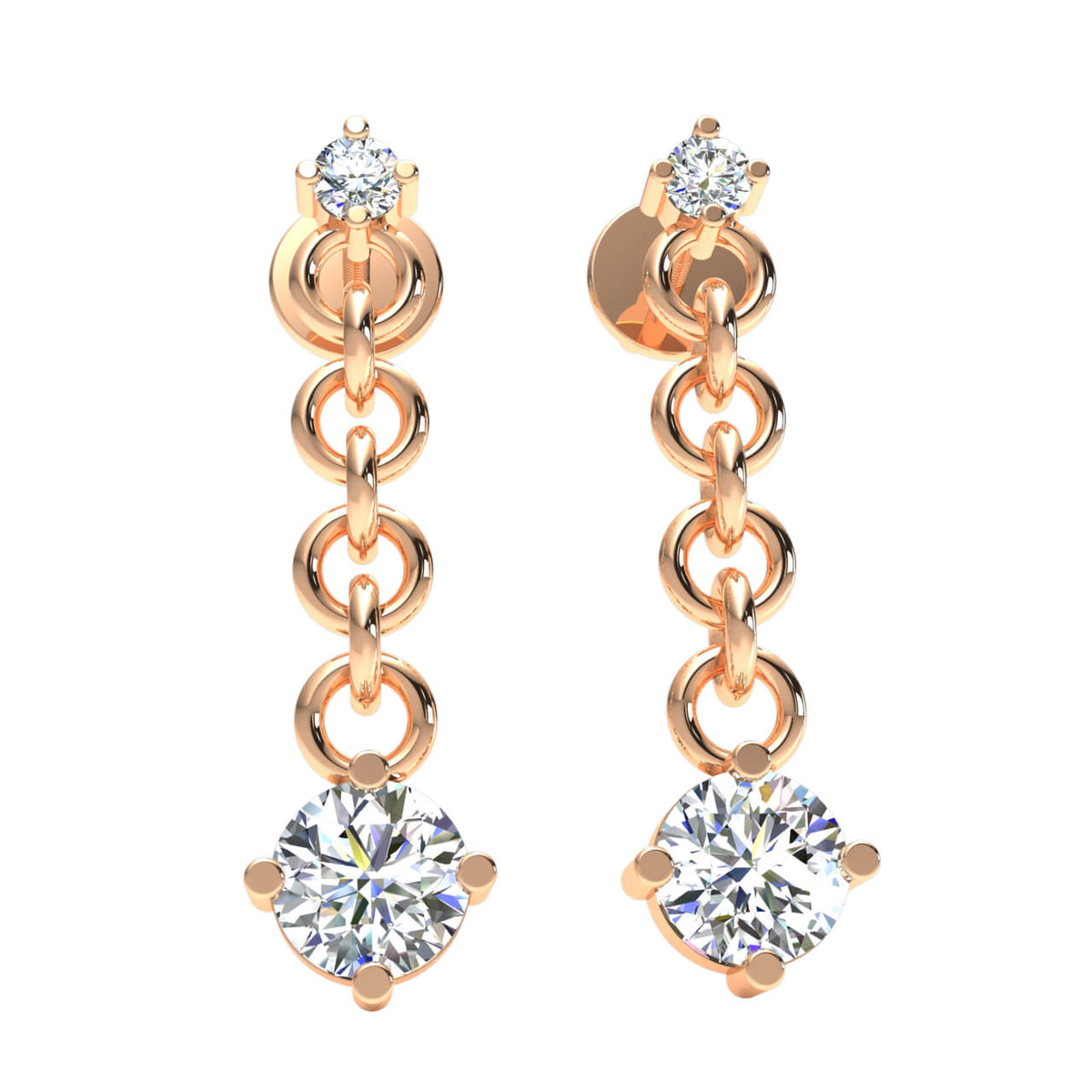0.80 Ct Drop Round GH SI1 Diamond Fancy Earrings For Womens 14k Gold
