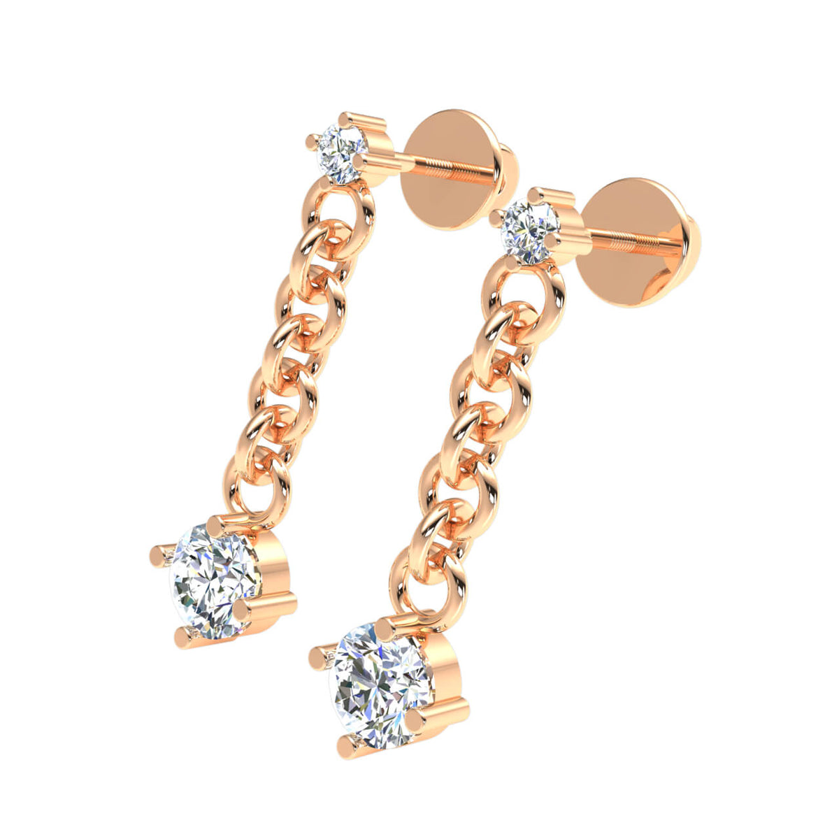 0.80 Ct Drop Round H SI2 Diamond Fancy Earrings For Womens 10k Gold