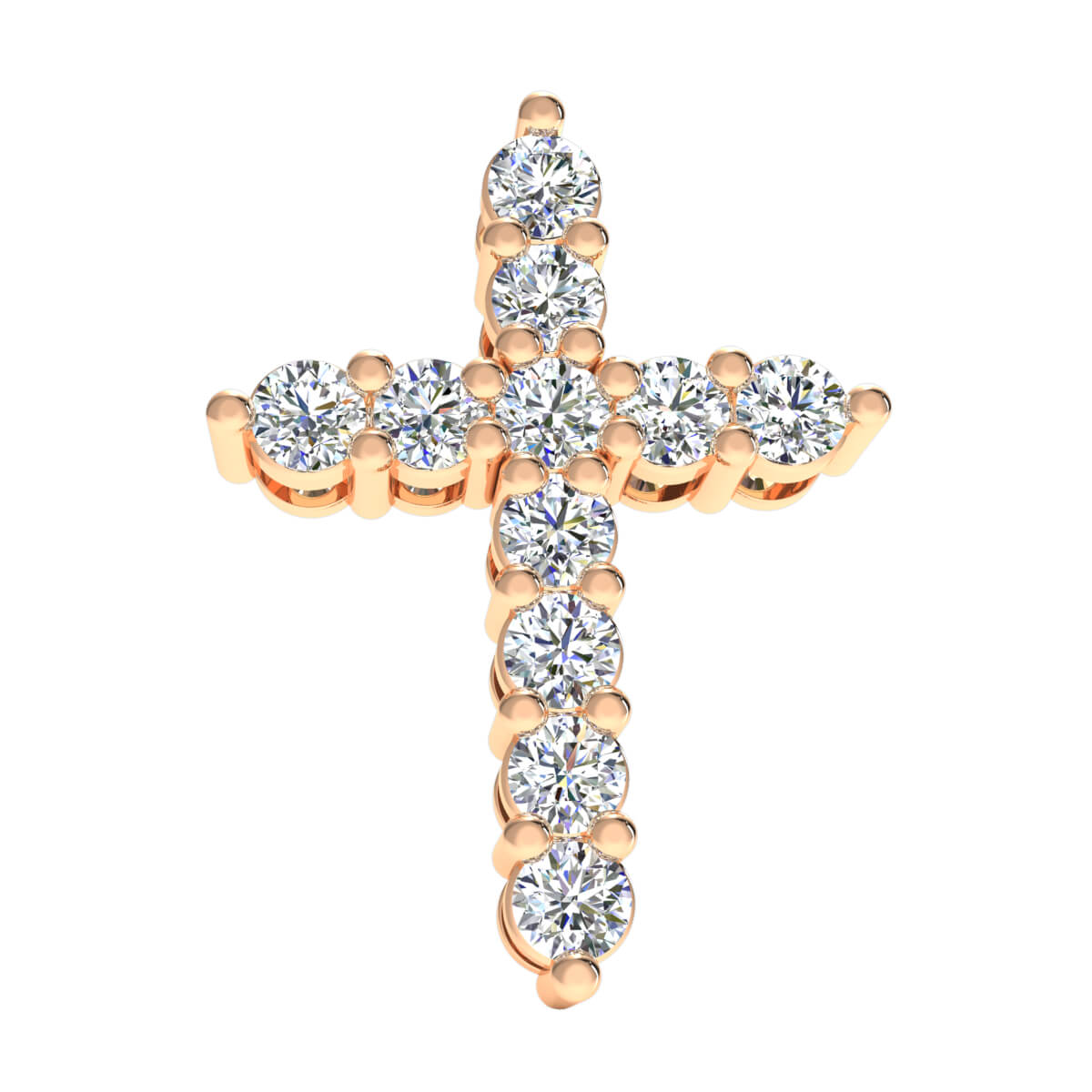 1.25 Ct Natural GH I1 Cross Religious Drop Pendant 14k Gold