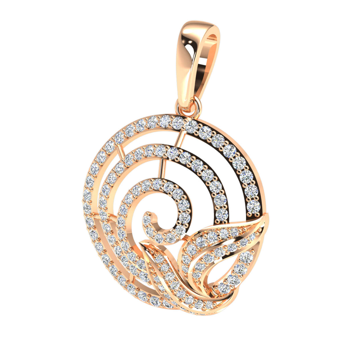 0.80 Ct Round G SI1 Diamond Circle Drop Fancy Pendant 18k Gold