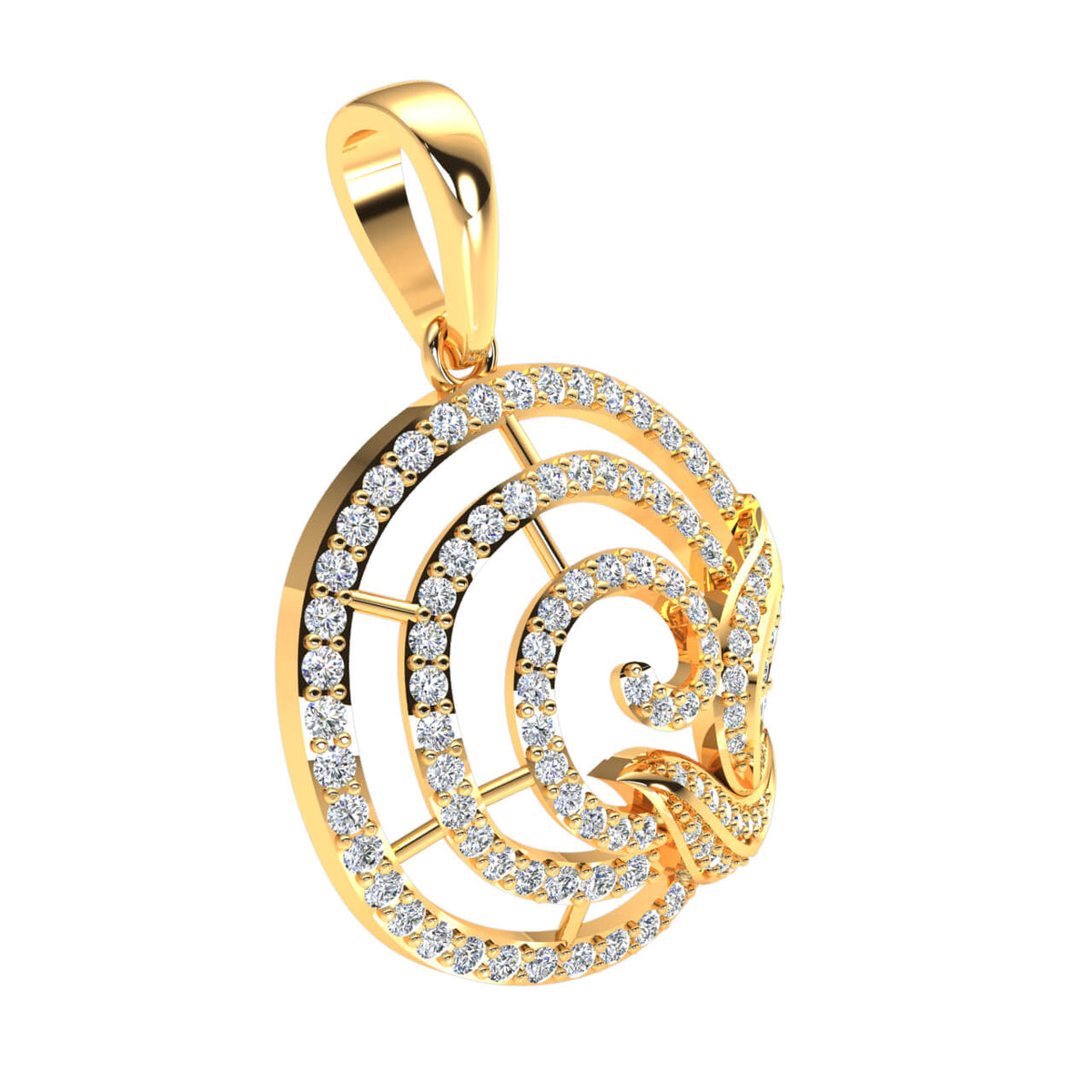 0.80 Ct Round H SI2 Diamond Circle Drop Fancy Pendant 10k Gold