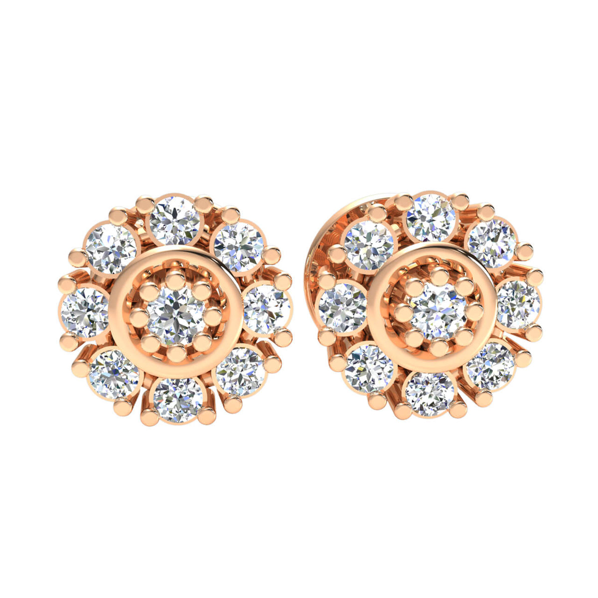 0.12 Ct Stud Cluster Round GH SI1 Diamond Fancy Earrings 14k Gold