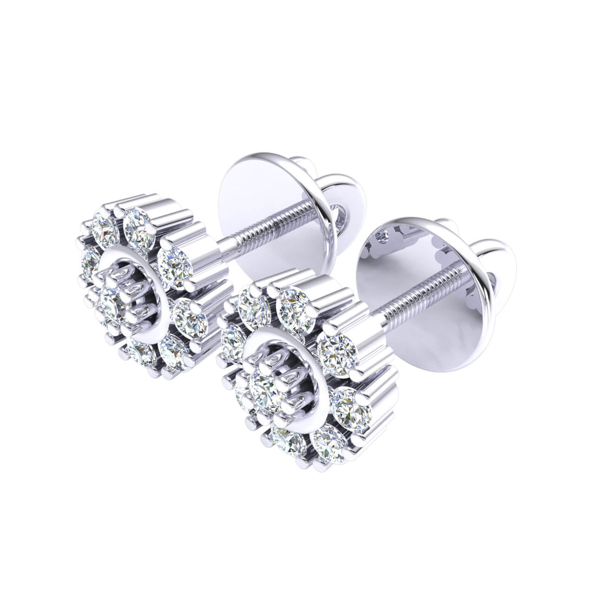 0.12 Ct Stud Cluster Round GH I1-I2 Diamond Fancy Earrings 925 Sterling Silver