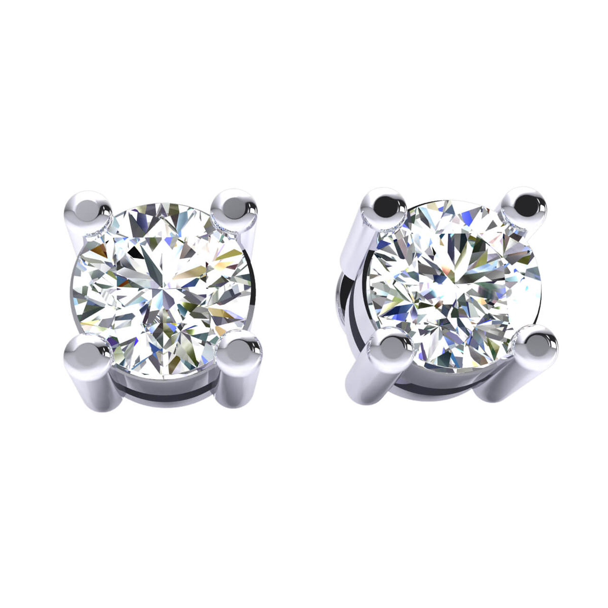 0.33 Ct Solitaire Round GH I1-I2 Diamond Stud Earrings For Adults 925 Sterling Silver