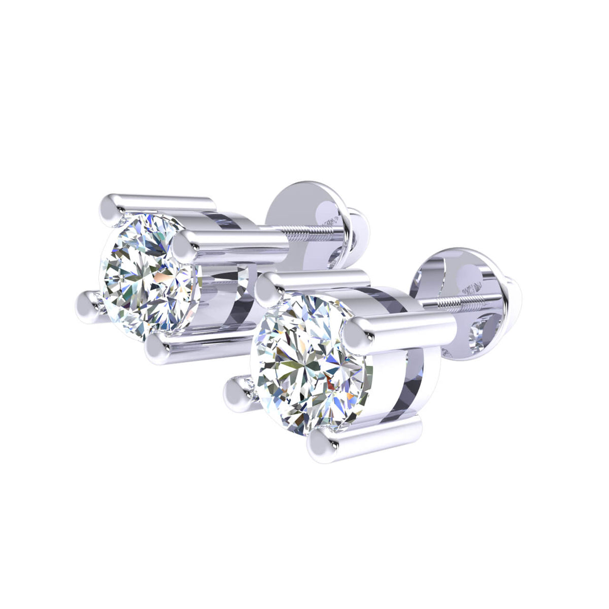 0.33 Ct Solitaire Round GH SI1 Diamond Stud Earrings For Adults 14k Gold