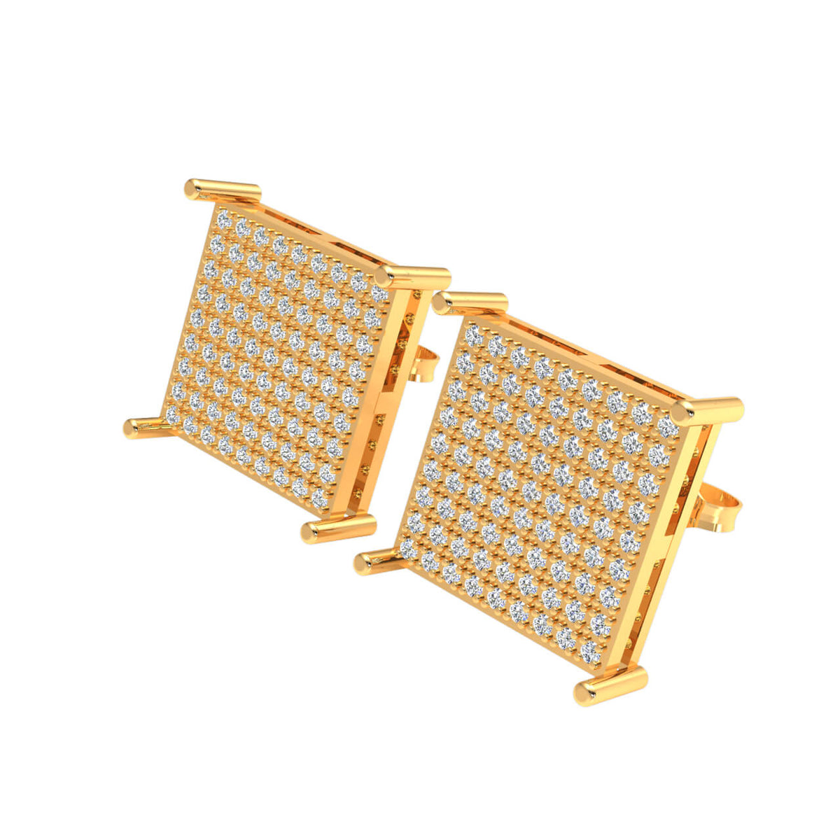 0.70 Ct Stud Cluster Round GH SI1 Diamond Fancy Earrings 14k Gold