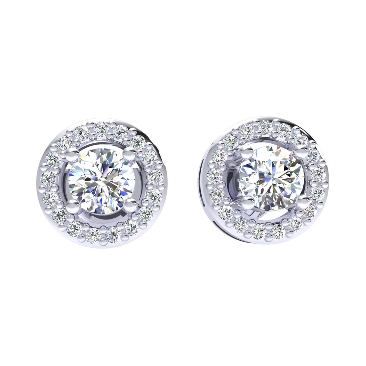 0.55 Ct Round GH I1-I2 Diamond Solitaire Unisex Stud Earrings 925 Sterling Silver