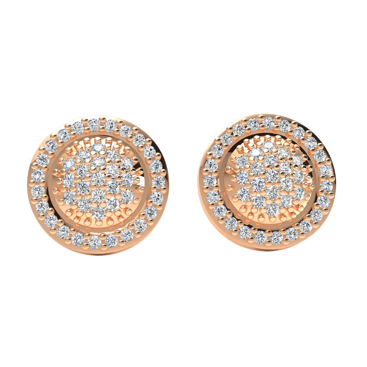 0.40 Ct Fancy Cluster Round GH I1-I2 Diamond Stud Earrings 925 Sterling Silver
