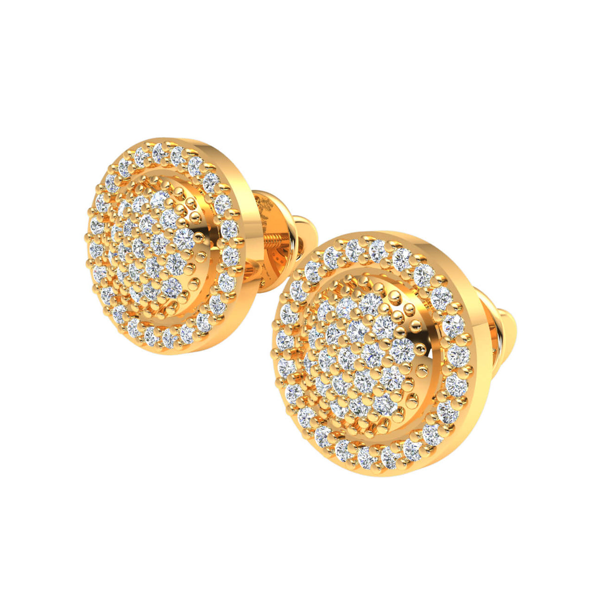 0.40 Ct Fancy Cluster Round H SI2 Diamond Stud Earrings 10k Gold