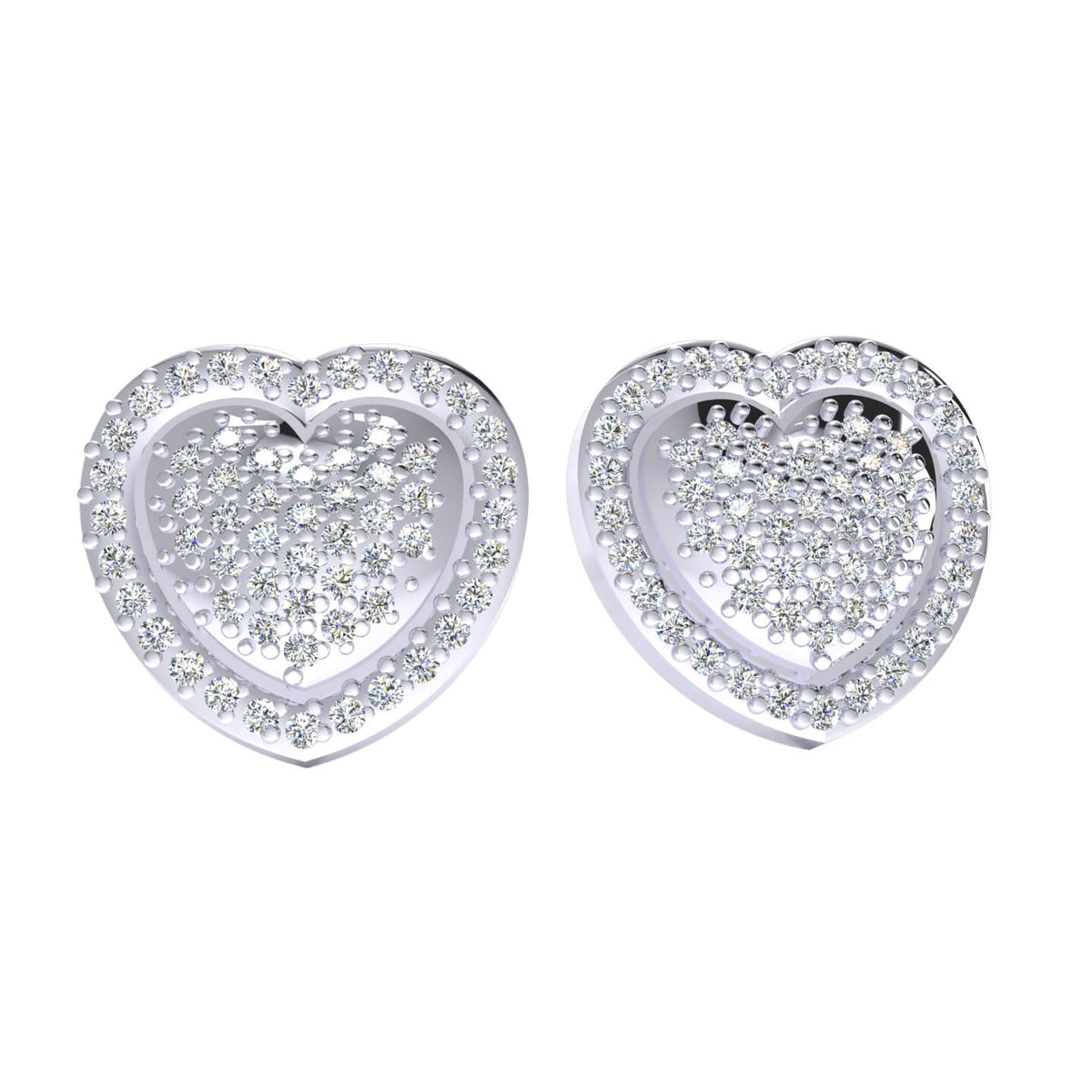 0.50 Ct Round GH SI1 Diamond Cluster Stud Unisex Heart Earrings 14k Gold