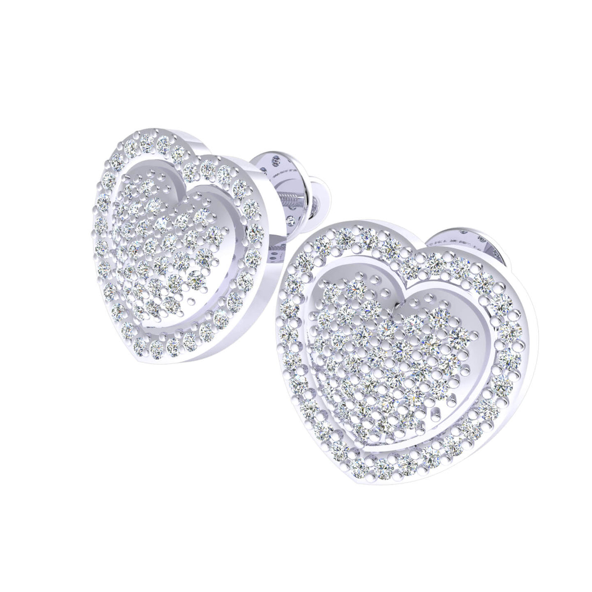 0.50 Ct Round GH I1-I2 Diamond Cluster Stud Unisex Heart Earrings 925 Sterling Silver