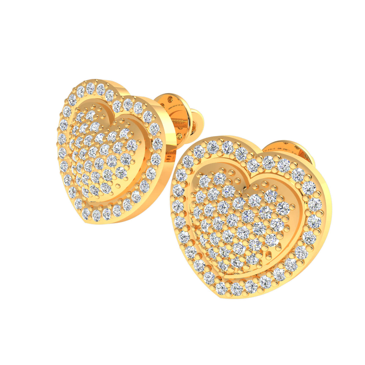 0.50 Ct Round H SI2 Diamond Cluster Stud Unisex Heart Earrings 10k Gold