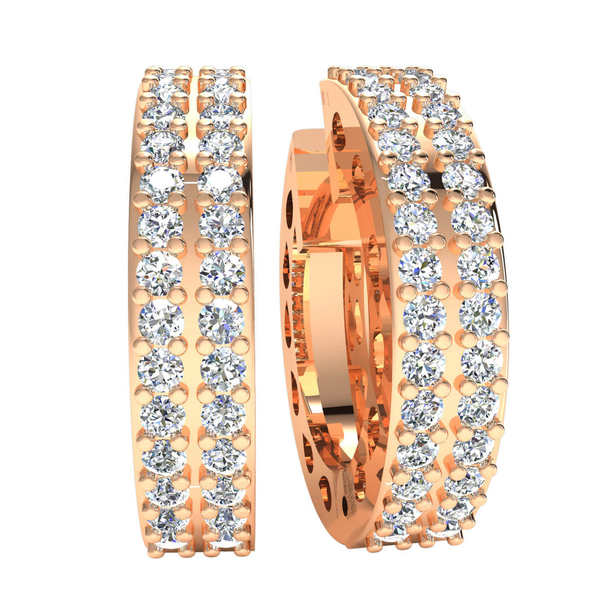 0.90 Ct Huggies Round H SI2 Diamond Hoop Earrings For Adults 10k Gold