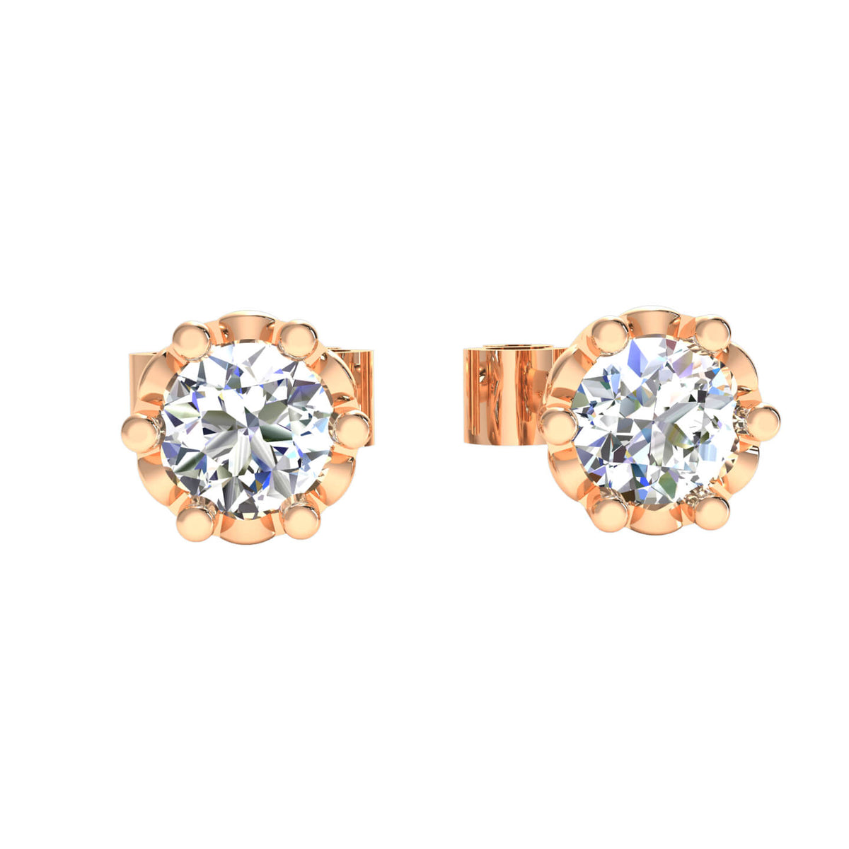 0.25 Ct Solitaire Classic Round H SI2 Diamond Stud Earrings 10k Gold