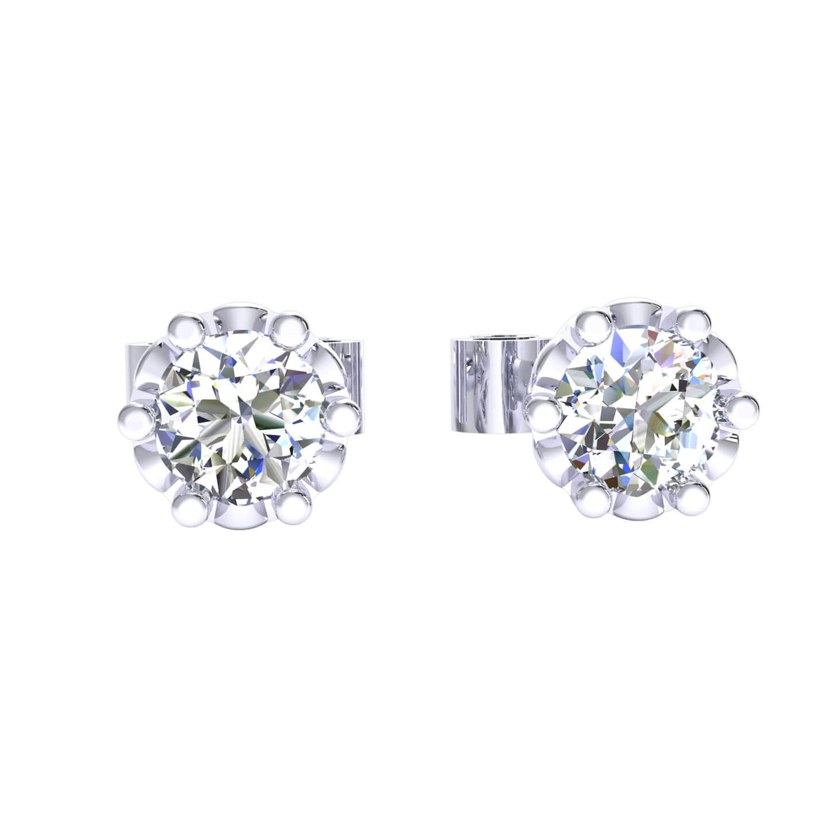 0.25 Ct Solitaire Classic Round GH I1-I2 Diamond Stud Earrings 925 Sterling Silver